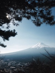 Fuji mountain in winter from high level