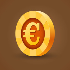 Gold coin of euro isolated on dark background