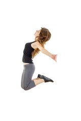 Sporty girl doing stretching exercises. slim hip-hop style teena