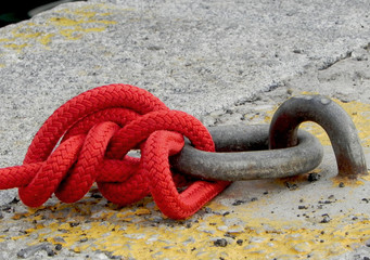 Rope tied to the cleat