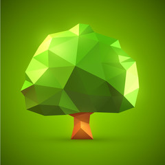 Polygonal origami tree vector illustration