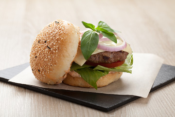 Healthy wheat sandwich hamburger with beef steak served for laun