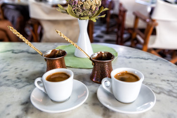 Traditional Greek Coffee in pot and Coffee Cups