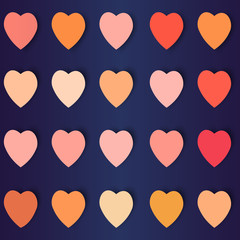 hearts with shadows in different colors, vector background