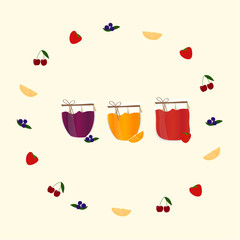 Banner with jam.  Vector illustration  for your design.