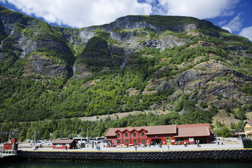 Sognefjord pier with shops and cafe in Flam, Norway
