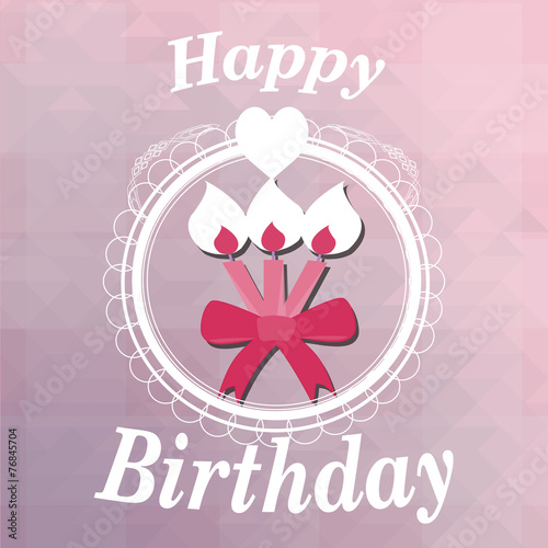 Happy birthday, candles  illustration over color background © paulagomezg