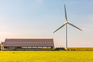 Dutch farmhouse with wind turbine
