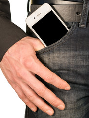 smartphone with a black screen in the pocket of jeans