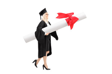 Female student carrying a huge diploma