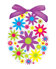Background with Easter egg from flowers and ribbon