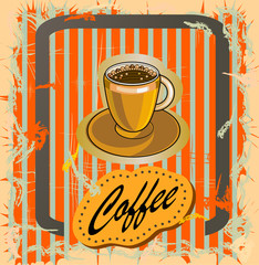 vector postcard advertising of coffee in retro style