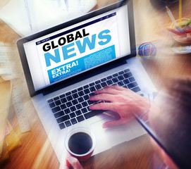 Digital Online Update Global News Searching Concept