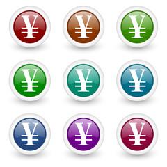 yen colorful web icons vector set