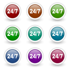 24/7 colorful web icons vector set