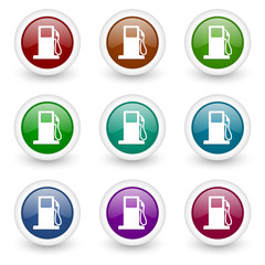 fuel colorful web icons vector set
