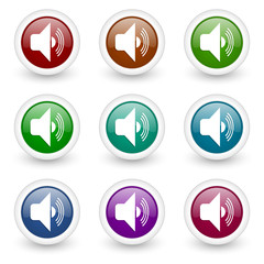 audio colorful web icons vector set