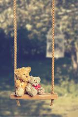 Teddies On Rustic Swing