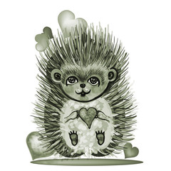 Lovely hedgehog with hearts.