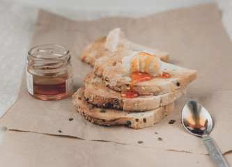 Toasts with honey and parmesan