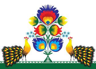 wzór ludowy z kwiatami i pawiem, łowicki