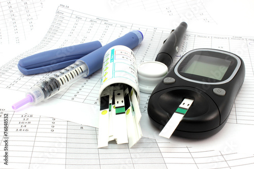Leinwanddruck Bild Glucometer and other instruments