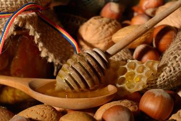 golden honey and shelled fruits