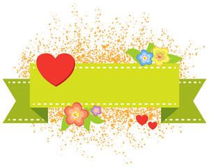 valentine heart banner - vector illustration