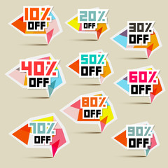 Vector Paper Discount Stickers, Labels