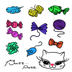 Cats toys - hand-drawn elements collection