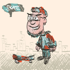 Skate Man Vector Sketch Illustration