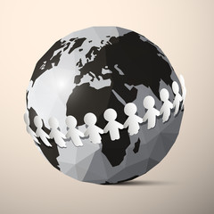 Paper People Holding Hands around Globe - Earth Vector
