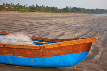 Old beached fishing Boat - Asian Style