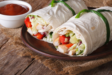 Tortilla roll with chicken and vegetables with sauce. horizontal