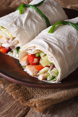burrito with chicken and vegetables closeup on a plate. vertical