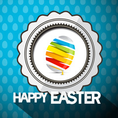 Blue Happy Easter Vector Illustration with Abstract Colorful Egg