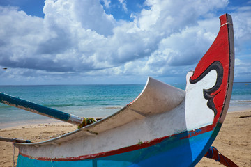 Traditional fishing boats on a beach  on Bali. Indonesia.