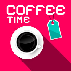 Coffee Time Vector Retro Paper Illustration