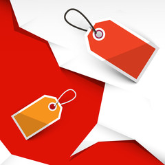 Vector Crumpled Papers and Paper Labels on Red Background