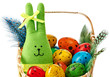 Easter Bunny and painted Eggs in basket on white background