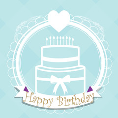Happybirthday illustration, cake and heart over color blue backg