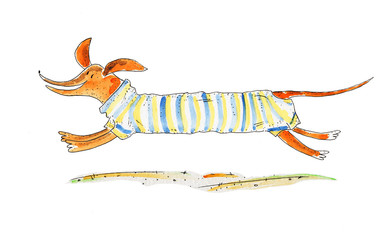 Red Dog Dachshund. Watercolor