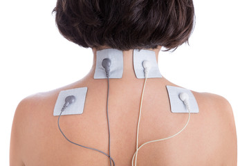 Orthopaedic treatment electrostimulator. Electrodes in neck.
