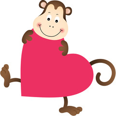 Monkey on heart shaped