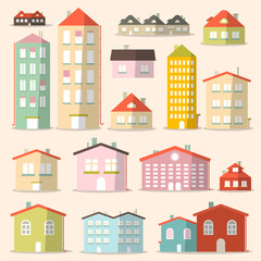 Vector Flat Design Paper Houses - Buildings Set
