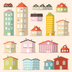 Vector Flat Design Paper Houses - Buildings Set