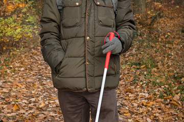 Blind person holding a stick and walking in the forest park