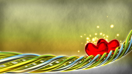 Motion background with red hearts and glitter particles