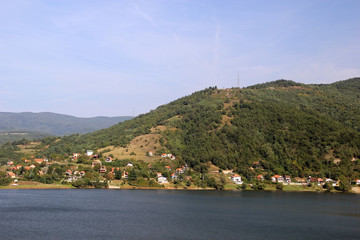 Village on the shore of the lake