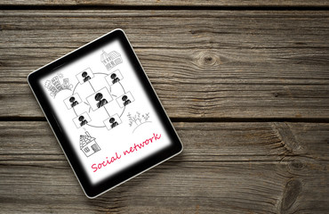 Digital tablet computer with  social networks concept isolated